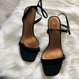 ASOS wide fit black patent leather heel sandal